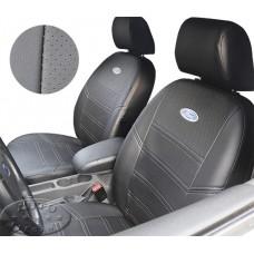Чехлы для Форд Фокус 2 (ЭКОкожа + сетка) чёрный