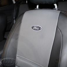 Чехол Форд Фокус 3 (ЭКОкожа + перфорация) серые кирпичи
