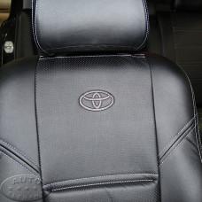 Чехлы для Тойоты Авенсис (ЭКОкожа + перфорация) чёрные кирпичи