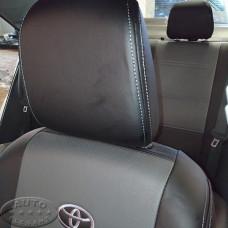 Чехлы для Тойота Королла Е160 (ЭКОкожа + перфорация) серые кирпичи