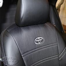 Чехлы для Тойоты Королла Е150 (ЭКОкожа + перфорация) чёрные кирпичи